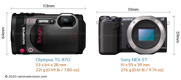 Olympus TG-870 vs Sony NEX-5T Camera Size Comparison - Front View