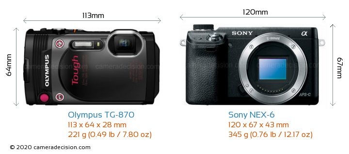 Olympus TG-870 vs Sony NEX-6 Camera Size Comparison - Front View