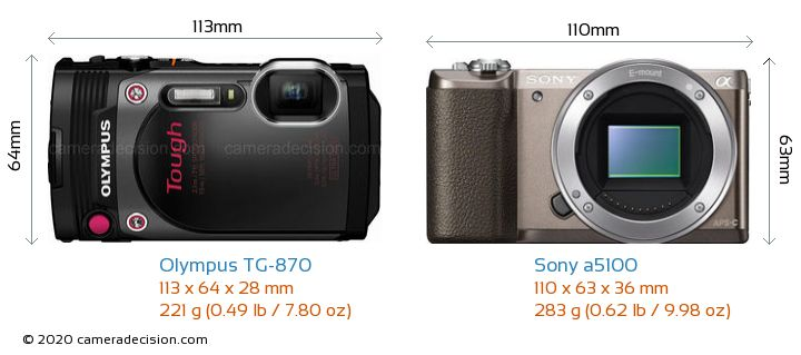Olympus TG-870 vs Sony a5100 Camera Size Comparison - Front View
