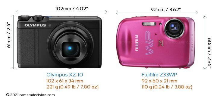 Olympus XZ-10 vs Fujifilm Z33WP Camera Size Comparison - Front View