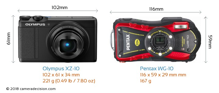 Olympus XZ-10 vs Pentax WG-10 Camera Size Comparison - Front View
