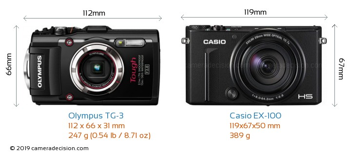 Olympus TG-3 vs Casio EX-100 Camera Size Comparison - Front View