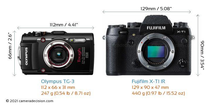 Olympus TG-3 vs Fujifilm X-T1 IR Camera Size Comparison - Front View