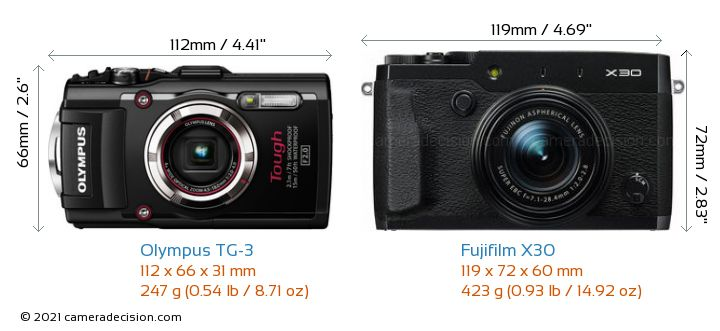 Olympus TG-3 vs Fujifilm X30 Camera Size Comparison - Front View