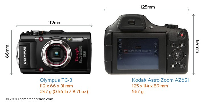 Olympus TG-3 vs Kodak Astro Zoom AZ651 Camera Size Comparison - Front View
