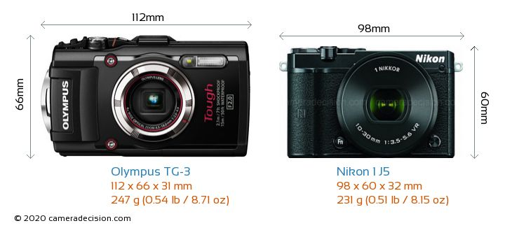 Olympus TG-3 vs Nikon 1 J5 Camera Size Comparison - Front View