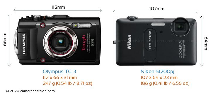 Olympus TG-3 vs Nikon S1200pj Camera Size Comparison - Front View