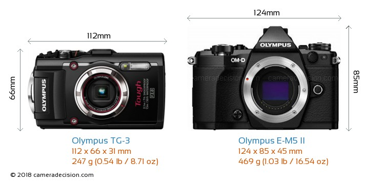 Olympus TG-3 vs Olympus E-M5 II Camera Size Comparison - Front View
