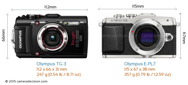 Olympus TG-3 vs Olympus E-PL7 Camera Size Comparison - Front View