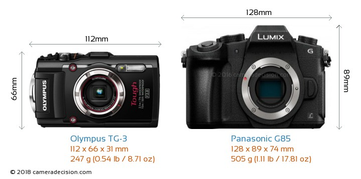Olympus TG-3 vs Panasonic G85 Camera Size Comparison - Front View