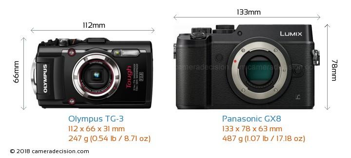 Olympus TG-3 vs Panasonic GX8 Camera Size Comparison - Front View