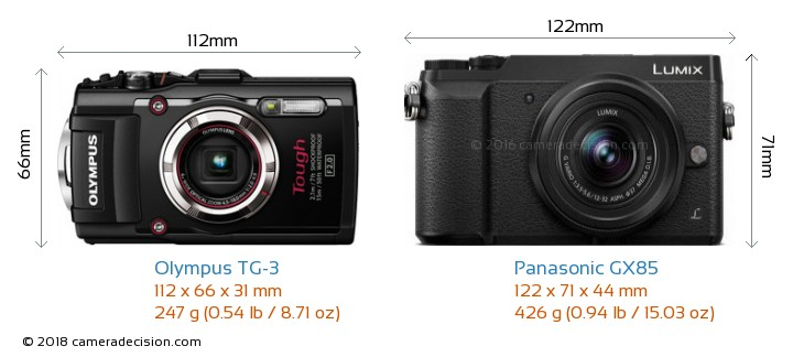 Olympus TG-3 vs Panasonic GX85 Camera Size Comparison - Front View