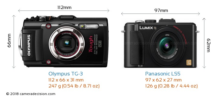 Olympus TG-3 vs Panasonic LS5 Camera Size Comparison - Front View