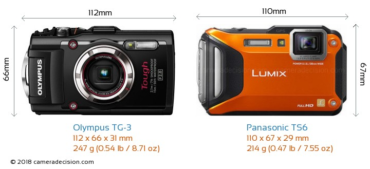 Olympus TG-3 vs Panasonic TS6 Camera Size Comparison - Front View
