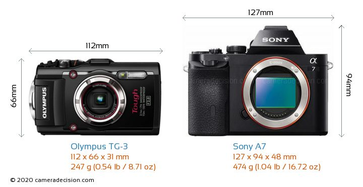 Olympus TG-3 vs Sony A7 Camera Size Comparison - Front View
