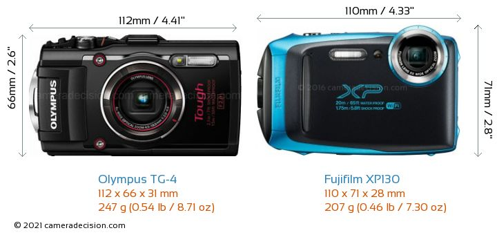 Olympus TG-4 vs Fujifilm XP130 Camera Size Comparison - Front View
