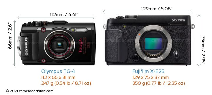Olympus TG-4 vs Fujifilm X-E2S Camera Size Comparison - Front View