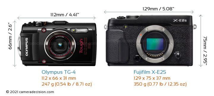 Olympus TG-4 vs Fujifilm X-E2S Camera Size Comparison - Front View