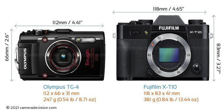 Olympus TG-4 vs Fujifilm X-T10 Camera Size Comparison - Front View