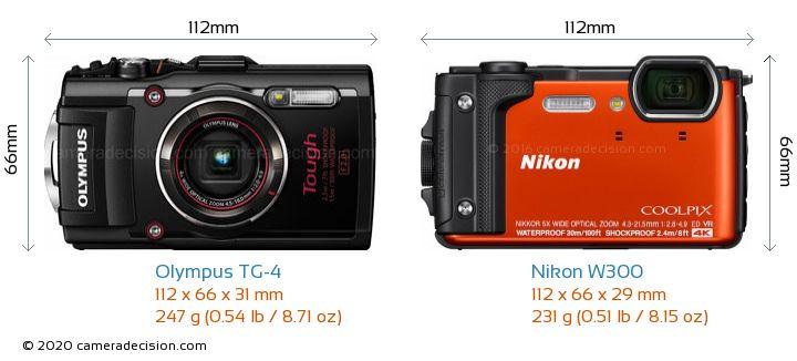 Olympus TG-4 vs Nikon W300 Camera Size Comparison - Front View