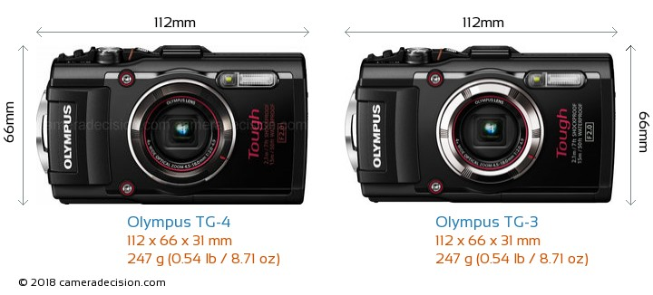 Olympus TG-4 vs Olympus TG-3 Camera Size Comparison - Front View