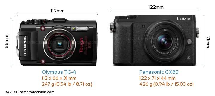 Olympus TG-4 vs Panasonic GX85 Camera Size Comparison - Front View