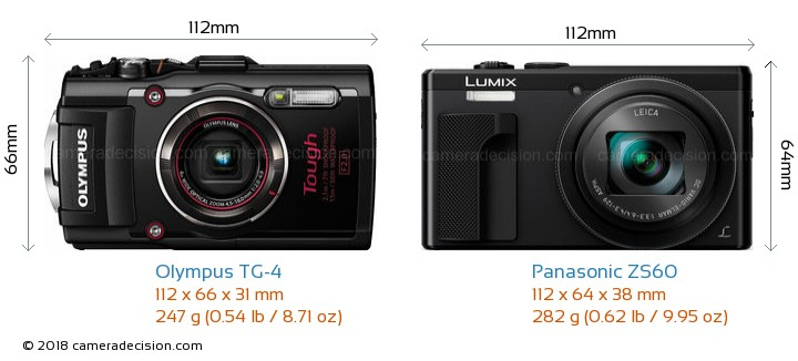 Olympus TG-4 vs Panasonic ZS60 Camera Size Comparison - Front View