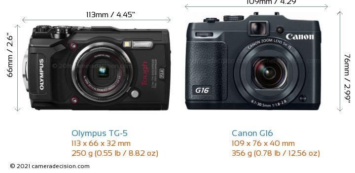 Olympus TG-5 vs Canon G16 Camera Size Comparison - Front View