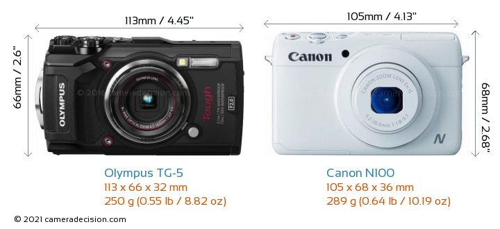 Olympus TG-5 vs Canon N100 Camera Size Comparison - Front View