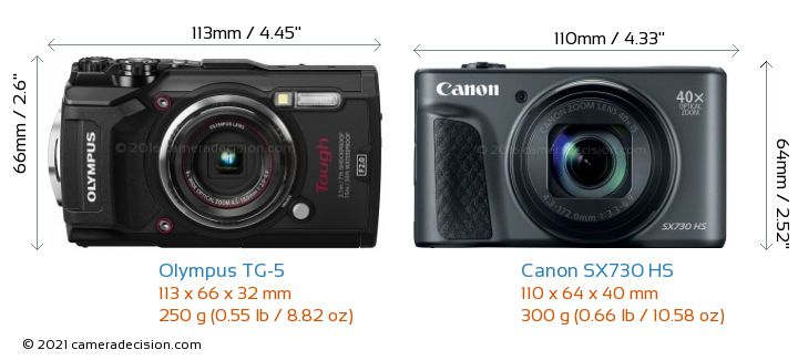 Olympus TG-5 vs Canon SX730 HS Camera Size Comparison - Front View