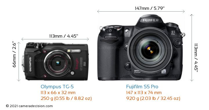 Olympus TG-5 vs Fujifilm S5 Pro Camera Size Comparison - Front View