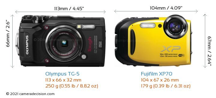 Olympus TG-5 vs Fujifilm XP70 Camera Size Comparison - Front View