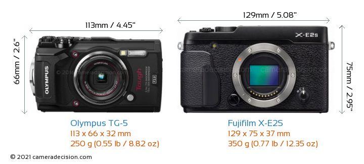 Olympus TG-5 vs Fujifilm X-E2S Camera Size Comparison - Front View