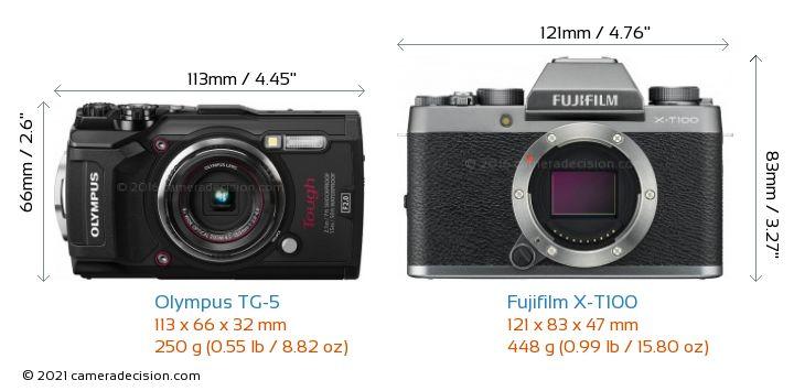 Olympus TG-5 vs Fujifilm X-T100 Camera Size Comparison - Front View