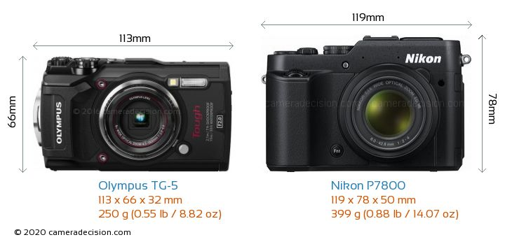 Olympus TG-5 vs Nikon P7800 Camera Size Comparison - Front View