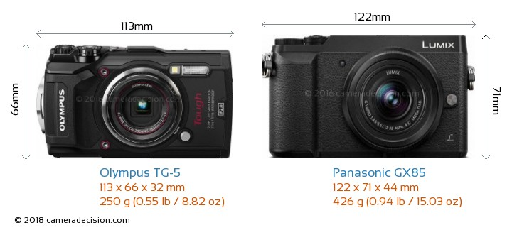 Olympus TG-5 vs Panasonic GX85 Camera Size Comparison - Front View