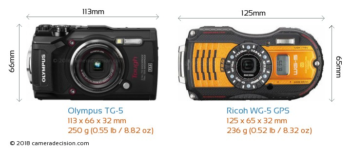 Olympus TG-5 vs Ricoh WG-5 GPS Camera Size Comparison - Front View
