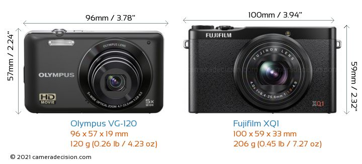 Olympus VG-120 vs Fujifilm XQ1 Camera Size Comparison - Front View