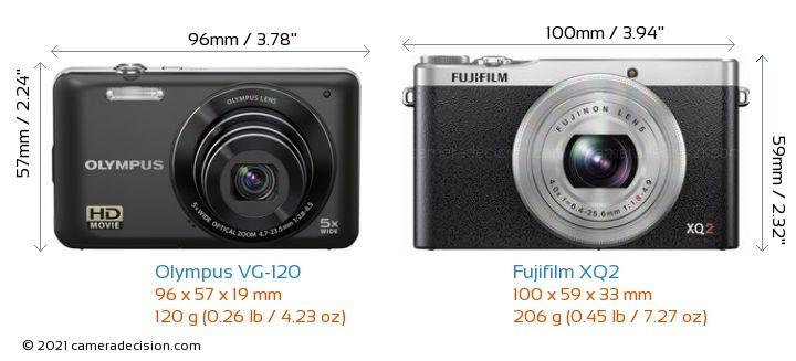 Olympus VG-120 vs Fujifilm XQ2 Camera Size Comparison - Front View