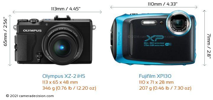 Olympus XZ-2 iHS vs Fujifilm XP130 Camera Size Comparison - Front View