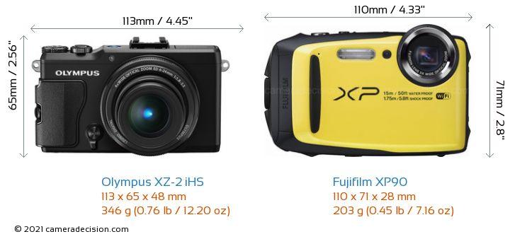 Olympus XZ-2 iHS vs Fujifilm XP90 Camera Size Comparison - Front View