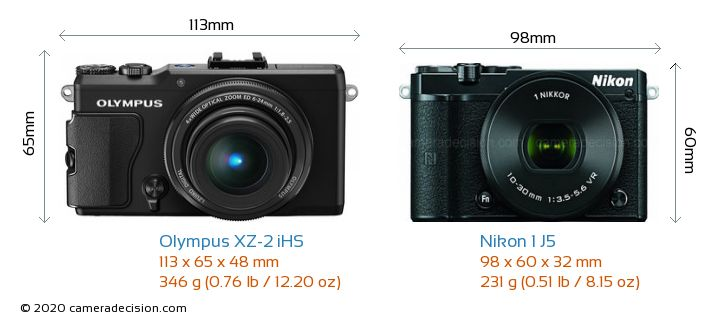 Olympus XZ-2 iHS vs Nikon 1 J5 Camera Size Comparison - Front View