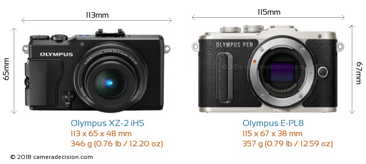 Olympus XZ-2 iHS vs Olympus E-PL8 Camera Size Comparison - Front View