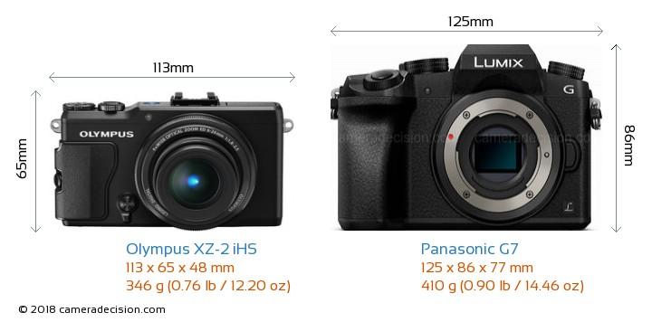 Olympus XZ-2 iHS vs Panasonic G7 Camera Size Comparison - Front View