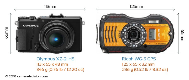 Olympus XZ-2 iHS vs Ricoh WG-5 GPS Camera Size Comparison - Front View