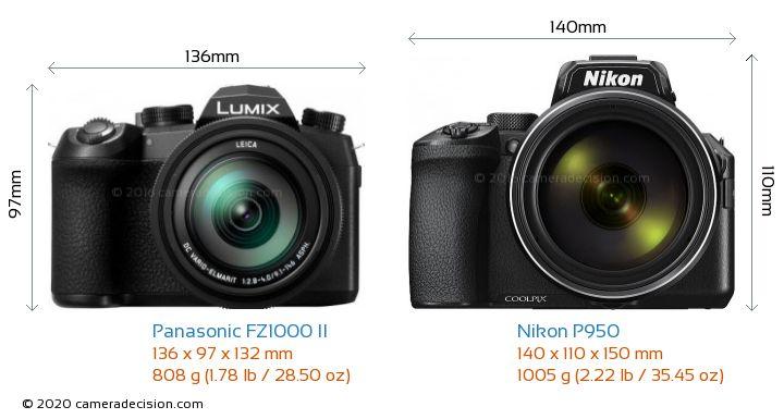 Panasonic FZ1000 II vs Nikon P950 Camera Size Comparison - Front View
