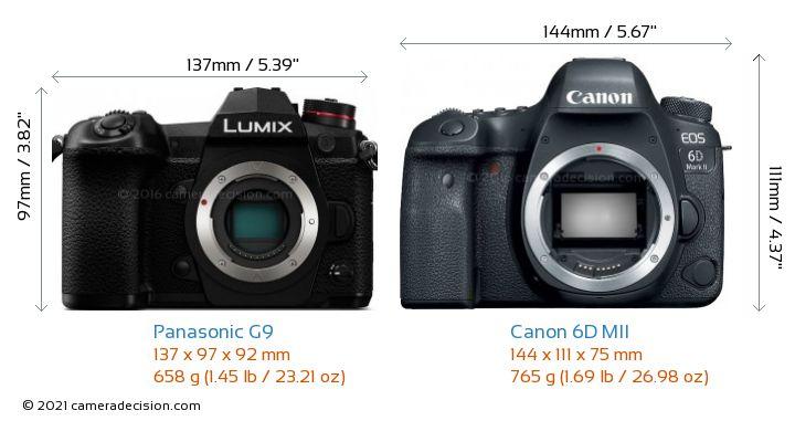 Panasonic G9 vs Canon 6D MII Camera Size Comparison - Front View