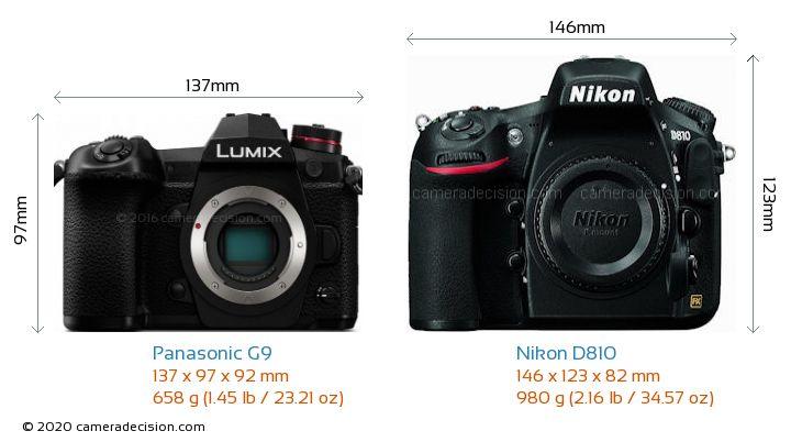 Panasonic G9 vs Nikon D810 Camera Size Comparison - Front View