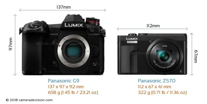 Panasonic G9 vs Panasonic ZS70 Camera Size Comparison - Front View