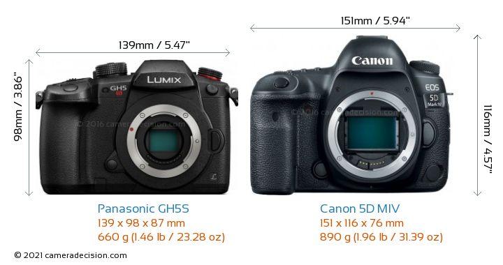 Panasonic GH5S vs Canon 5D MIV Camera Size Comparison - Front View